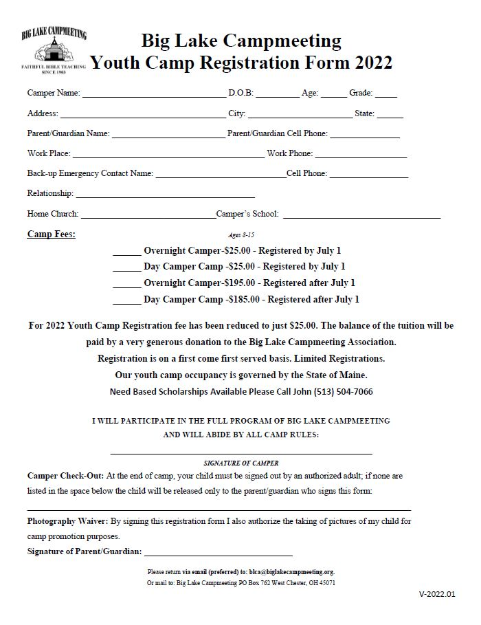 Big Lake Campmeeting Youth Camp Registration Form